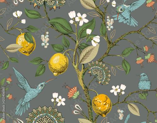 kwiatowy-wektor-wzor-tapeta-botaniczna-rosliny-tlo-kwiaty-ptakow-rysowane-tapeta-natura-cytryny-kwiaty-kolibry-kwitnacy-ogrod-konstrukcja-do-tkanin-tekstyliow-papieru