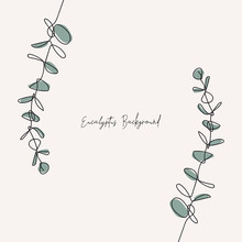 Eucalyptus Baby Blue Branch Continuous Line Drawing. One Line . Hand-drawn Minimalist Illustration, Vector.