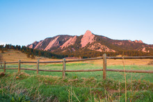 Boulder Colorado Mountain Landscape With Flatirons And Wooden Fence From Chautauqua Park