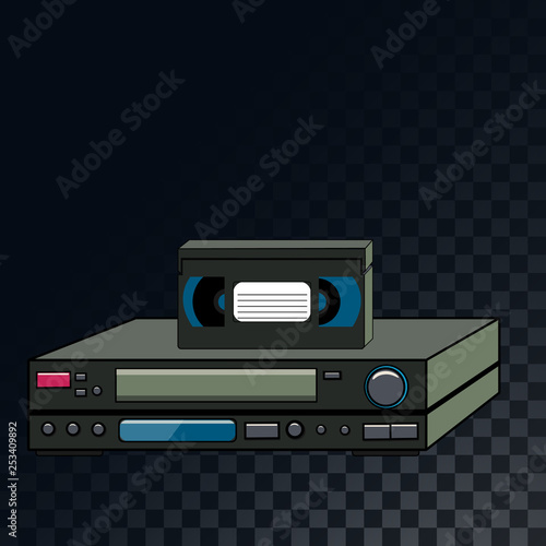 An old retro vintage analog film video cassette and video