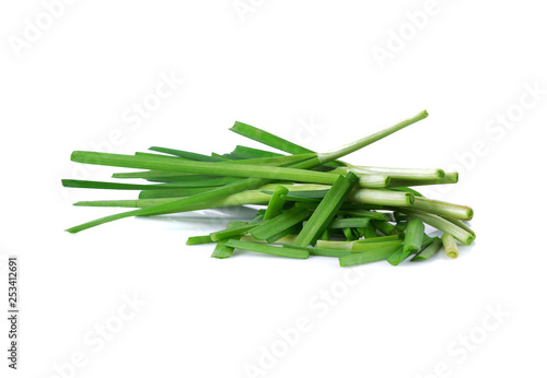 Canvas Prints Condiments Fresh leeks leaves isolated on white background
