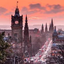 View To Evening Princes Street From Calton Hill In Edinburgh, Scotland