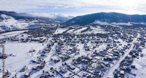 Valokuva  Keystone Dillon Colorado Winter Snowy Weather Sunny Day Panoramic Aerial View