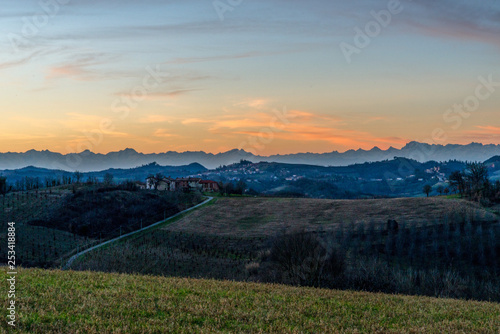 Sunset on the hills of Montferrat during winter Canvas Print