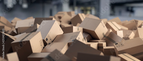 Fotografie, Obraz  3D Illustration Verpackung Kartone