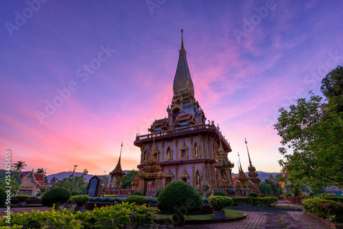 Fotografie, Obraz  The most important of buddhist temples of Phuket is Wat Chalong or formally Wat Chaiyathararam in Phuket, Thailand