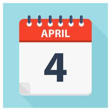 April 4 - Calendar Icon - Calendar Design Template
