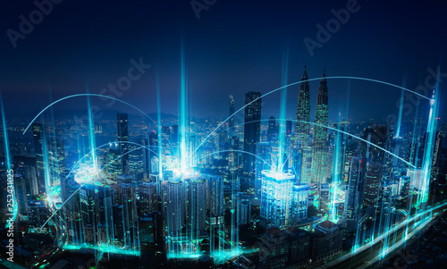 Fotografiet  Modern abstract cityscape and network connection concept .