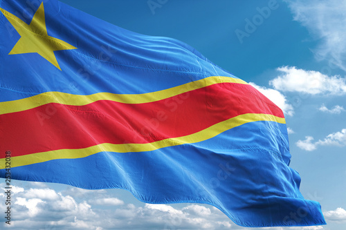 Fotografía  Congo flag waving sky background 3D illustration