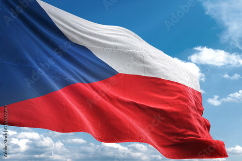 Photo  Czech Republic flag waving sky background 3D illustration