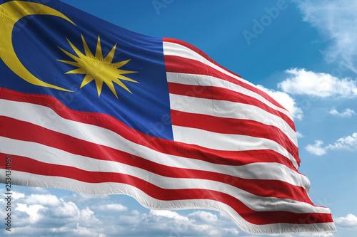 Fotografía  Malaysia flag waving sky background 3D illustration