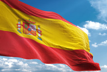 Spain Flag Waving Sky Backgrou...
