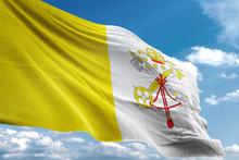 Vatican City Flag Waving Sky Background 3D Illustration