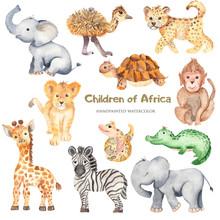 Watercolor Cute Cartoon Africa...