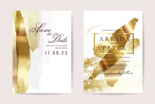 Luxury Wedding Invitation Cards With Gold Texture And Geometric Pattern Minimal Style Vector Design Template
