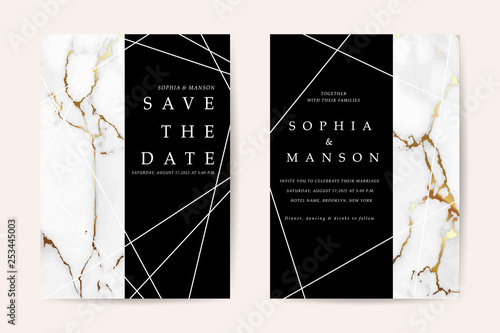 Fototapeta Luxury Wedding Invitation Cards With Gold Marble Texture Vector Design Template