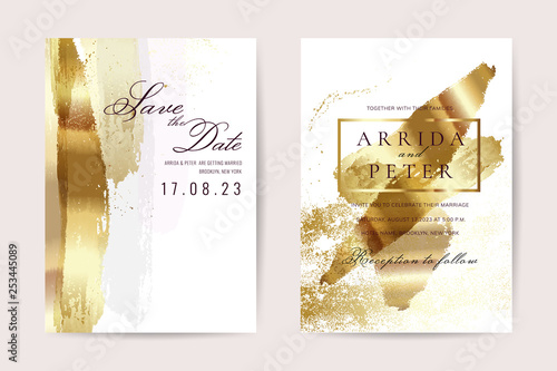 Fototapeta Luxury Wedding Invitation Cards With Gold Texture And Geometric Pattern Minimal Style Vector Design Template