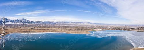 Photo  Baseline Reservoir Boulder Colorado Winter Landscape