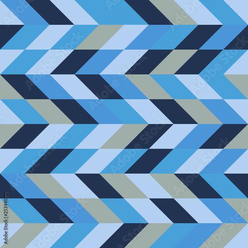 Fotografia  Seamless pattern, geometry shapes in cool blue tones