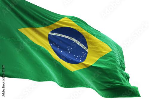 Brazil flag waving isolated white background 3D illustration Fotobehang