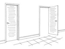 Corridor Graphic Black White Interior Sketch Illustration Vector