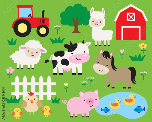 Cute farm animals vector illustration set including cow, horse, pig, llama, hen, chicken, duck, fish, sheep, barn, and tractor. Cute cartoon animals in a ranch. Wall mural