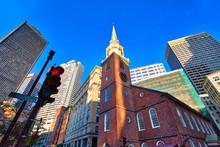 Boston Historic Center Streets At A Bright Sunny Day