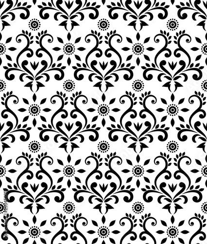 vintage damask pattern baroque black and white wallpaper decor beautiful batik floral seamless background vector illustration buy this stock vector and explore similar vectors at adobe stock adobe stock vintage damask pattern baroque black