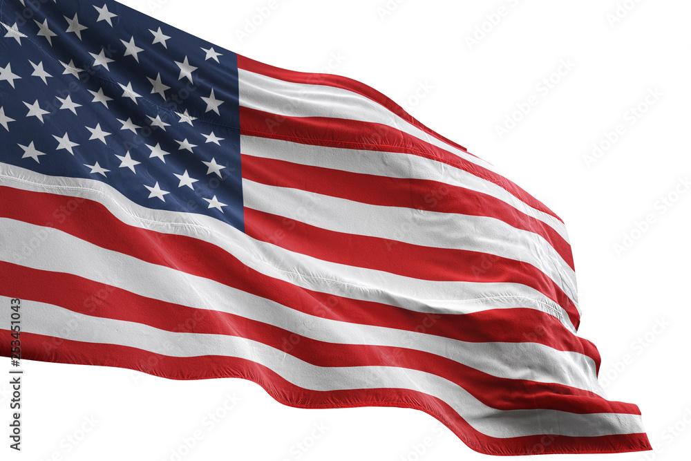 Fototapety, obrazy: United States flag waving isolated white background 3D illustration