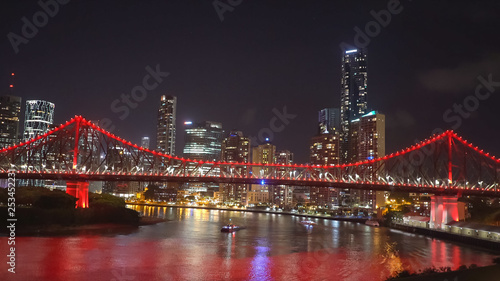 Photo Stands New York night shot of the story bridge in brisbane illuminated with red lights