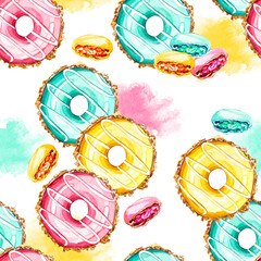 Panel Szklany Do kuchni hand painted watercolor seamless pattern donuts and macarons