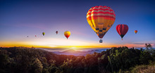 Colorful Hot Air Balloons Flying Over Mountain At Dot Inthanon In Chiang Mai, Thailand