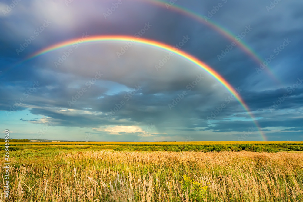 Fototapety, obrazy: Rainbow over stormy sky. Rural landscape with rainbow over dark stormy sky in a countryside at summer day.