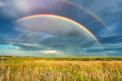 Photo sur Toile Miel Rainbow over stormy sky. Rural landscape with rainbow over dark stormy sky in a countryside at summer day.