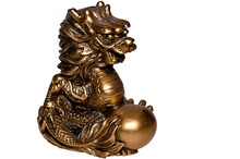 Dragon Statue Gold White Backg...