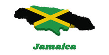 3D Map Outline And Flag Of Jam...