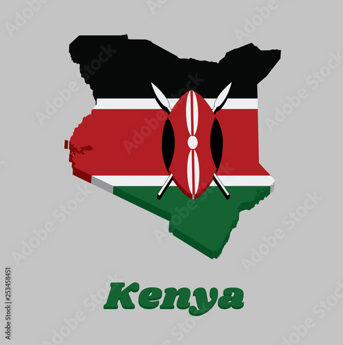 3D Map outline and flag of Kenya, A horizontal of black