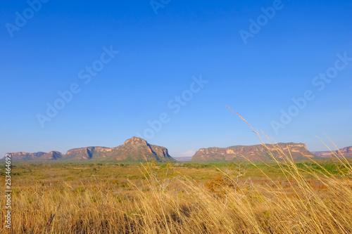 Fotografija  Red sandstone mountains, stone town city, beautiful landscape at Chapada dos Gui