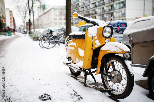 old classic vintage yellow motor scooter