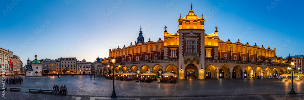 Fototapety, obrazy: Krakow Cloth Hall by early blue hour (panoramic)