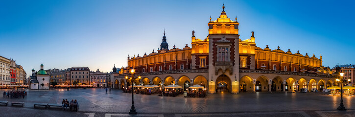 FototapetaKrakow Cloth Hall by early blue hour (panoramic)