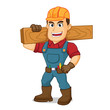 Handyman carrying wood plank