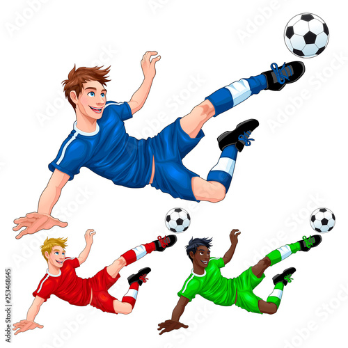 Poster Chambre d enfant Three soccer players with different hair, skin and dress colors