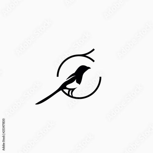 Fotografie, Obraz simple magpie bird logo vector illustration