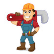 Handyman carrying pipe wrench