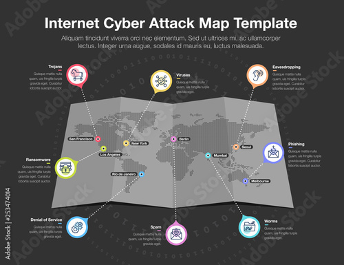 Fotografía  Infographic for internet cyber attack world map with 8 symbols for common internet cyber threats – dark version