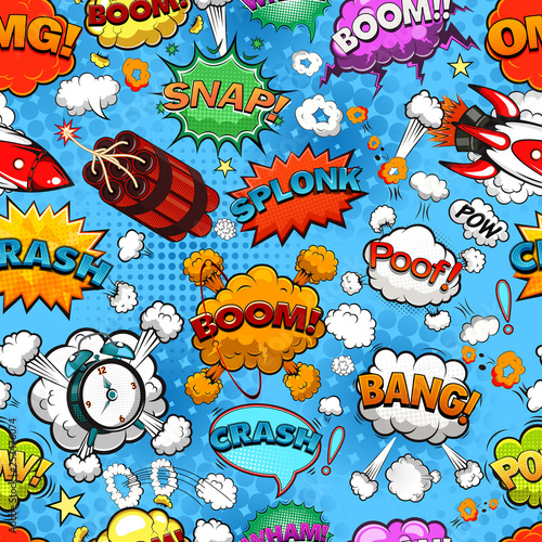 Plakaty Pop Art  comic-speech-bubbles-seamless-pattern-on-blue-background-illustration