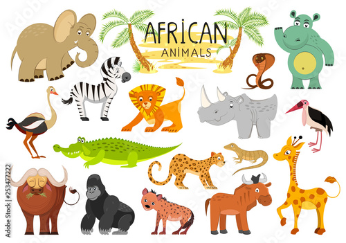 Fotografía  African animals collection isolated on white background
