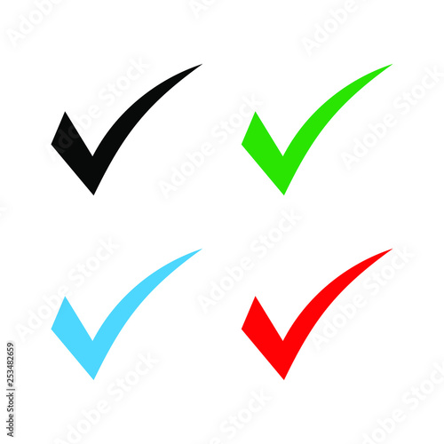 Set of colored check mark icon  Tick symbol, tick icon vector