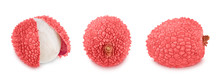 Set Of Lychees Isolated On A White Background.